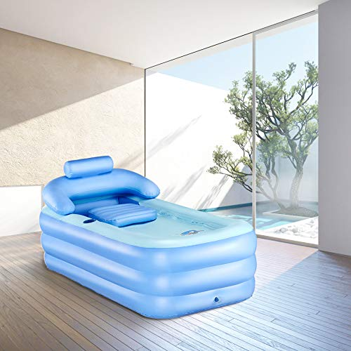 CO-Z Inflatable Portable Bath Tub Adult PVC Foldable Free Standing Bathtub for Adult Spa with Electric Air Pump