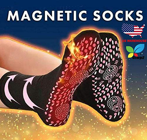 Self Heating Socks, Stcorps7 Tourmaline Self-Heating Therapy Magnetic Socks Comfortable Breathable Massage Anti-Freezing Warm Foot Socks Outdoor Skiing (Black) (Socks Magnetic Therapy)