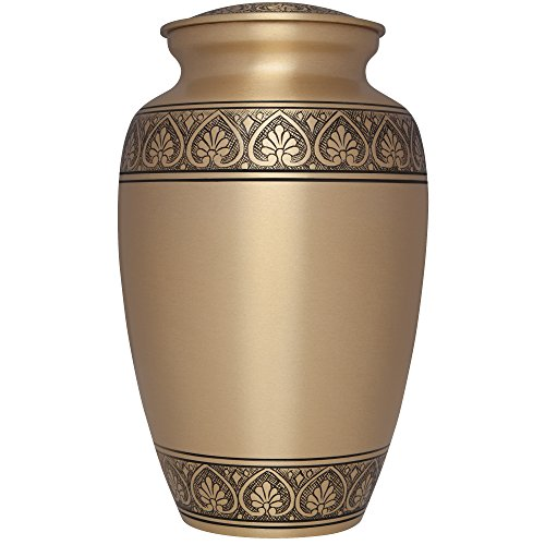Golden Funeral Urn by Liliane Memorials- Cremation Urn for Human Ashes - Hand Made in Brass -Suitable for Cemetery Burial or Niche - Large Size fits remains of Adults up to 200 lbs - Corinthian Bronze - Bronze Corinthian Corinthian Design