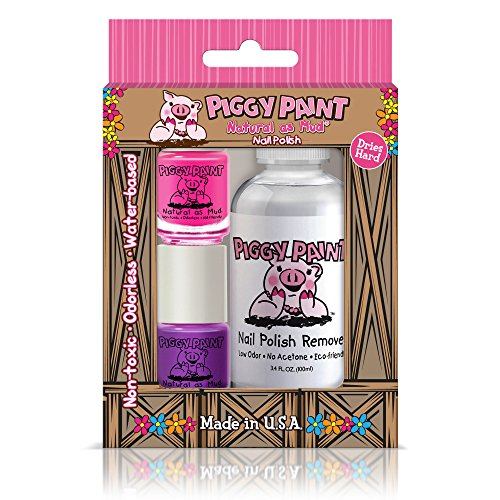 Piggy Paint - 100% Non-toxic Girls Nail Polish, Safe, Chemical Free, Low Odor for Kids - 2 Polish Gift and 1 Remover Set (Remover Set) -