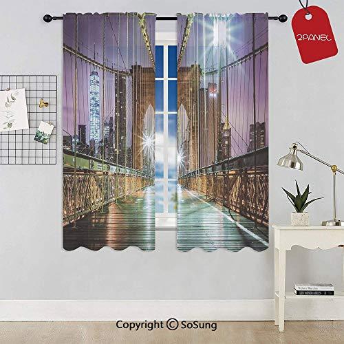 (Brooklyn Bridge Pedestrian Walkway Before Sunrise American Landmark Picture Rod Pocket Sheer Voile Window Curtain Panels for Kids Room,Kitchen,Living Room & Bedroom,2 Panels,Each 52x54 Inch,Purple Br)