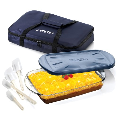 Anchor Hocking 3 Piece Sculpted Ovenware Set with Tote Bag