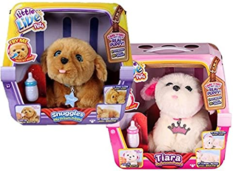 Two Puppies, Tiara and Snuggles, My Dream Puppy Bundle, Perfect Gift Set with To/From Mini Card & Envelope, Little Live Pets Interactive Realistic Pups, like real live Allergy free pets for kids