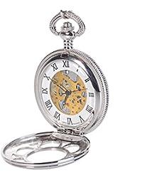 Antique Mens Silver Quartz Roman Numerals Pocket Watch...