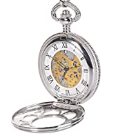 Antique Mens Silver Quartz Roman Numerals Pocket Watch with 14.5 inches Chain for Men Xmas (Hollowed)