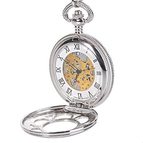Antique Mens Silver Quartz Roman Numerals Pocket Watch with 14.5 inches Chain Gift (Men Antique Watch)