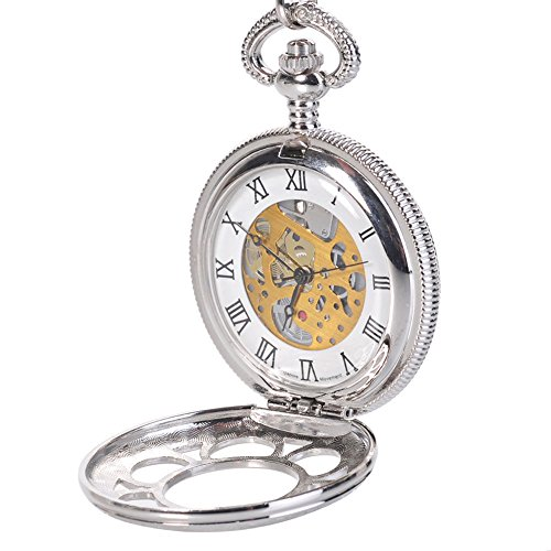 Antique Mens Silver Quartz Roman Numerals Pocket Watch with 14.5 inches Chain Gift