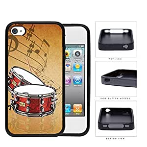 Drums And Musical Notes Brown Grunge Rubber Silicone TPU Cell Phone Case Apple iPhone 4 4s Kimberly Kurzendoerfer