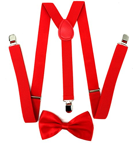 Premium Quality 1 Inch Suspender & 4.5 Inch Bowtie Combo Set, Mens Womens Unisex (Red Bowtie with Red Suspenders) ()
