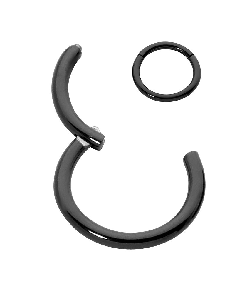 365 Sleepers G23 Titanium 18G, 16G, 14G Hinged Seamless Segment Ring Body Piercing - Sold Individually (20G 9mm Black) by 365 Sleepers