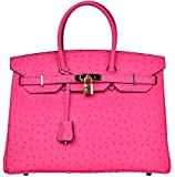 Cherish Kiss Luxury Women's Genuine Leather Embossed Ostrich Top Handle Padlock Handbags (35CM Ostrich, Hot Pink)
