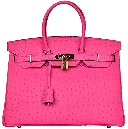 Cherish Kiss Luxury Women's Genuine Leather Embossed Ostrich Top Handle Padlock Handbags (35CM Ostrich, Hot Pink) by Cherish Kiss