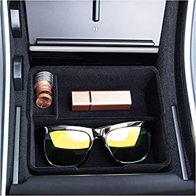 JKCOVER Flocked Center Console Tray Organizer Compatible with Tesla Model 3 (2017 2018 2019 2020) Custom Upgrade Accessory