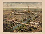 """1900 Paris Exposition Universelle Panoramic View. Map. Bird's Eye of Paris, France. French. 36"""" X 48"""" Image Size Vintage Poster Reproduction. Search our other available sizes."""