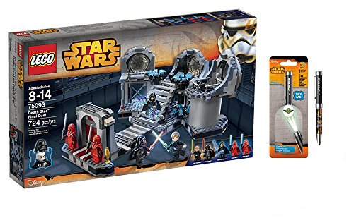 Ultimate Lightsaber Duel (LEGO Star Wars Death Star Final Duel 724 Pcs & Star Wars Projector Pen, Colors may vary Playsets Building)
