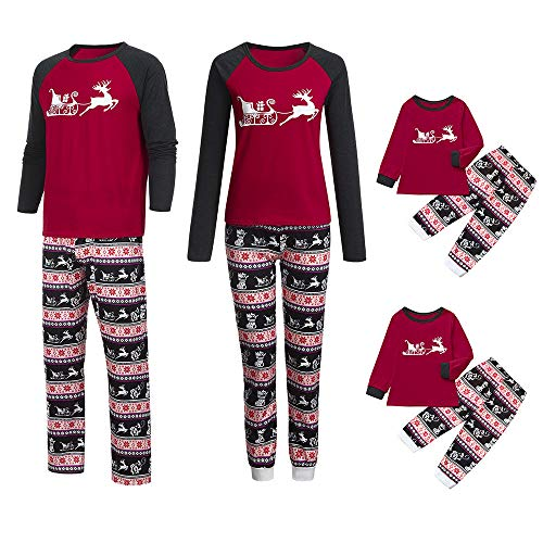 Franterd Christmas Family Matching Pajamas Set Mommy Daddy &Me Parents Child Cartoon Xmas Deer Tops + Snowflake Pants