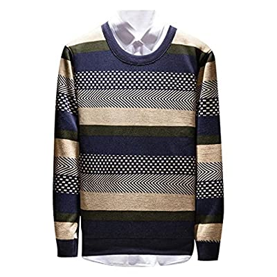 Cheap Oberora-Men Classic Crew Neck Color Block Stripe Knitted Thermal Pullover Sweater