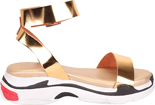 868eab06615e7 Cambridge Select Women's Sporty Colorblock Buckled Ankle Strap Chunky  Flatform Sandal