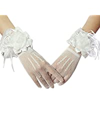 Women Bridal Elastic Lace Bowknot Wrist Gloves for Wedding Evening Party (#White)