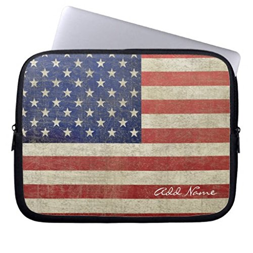 Vintage American Flag with Name Personalized Unique Laptop Sleeve 10 Inch Small Size Computer Case Soft Neoprene Water Resistance Computer Case for Laptop Notebook Computer Case for Lenovo HP Sony