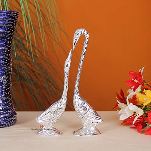 Handicrafts Paradise Pair of Kissing Swan/Duck Home Decor Showpiece in White Metal – 25 cms (Silver)