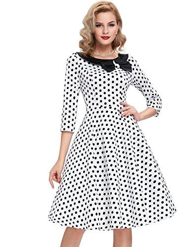 Belle Poque White and Black Polka Dot 3/4 Sleeve Vintage Short Swing Dresses 50's S BP41-2 ()