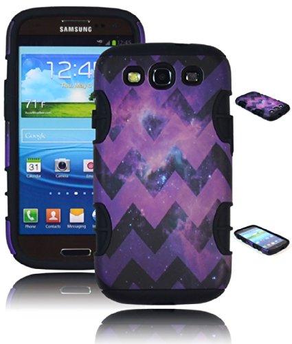 Bastex Heavy Duty Hybrid Case for Samsung Galaxy S3 I9300, I747 - Black Silicone - Purple Chevron Space Design Hard Shell ()