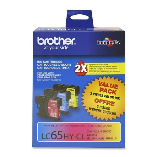 Price comparison product image Brother® LC65 Ink Cartridge INKCART,HI YLD,3 PACK,AST 15669 (Pack of 2)