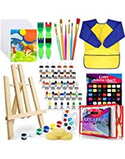 Deluxe Paint Set for Kids, Non-Toxic Toddler Paint Kit with Table Top Easel, Smock, and Drawing Board, Sponge Brushes, Acrylic Canvas Painting for Early Education and Home Activity(24 Colors*12ml)