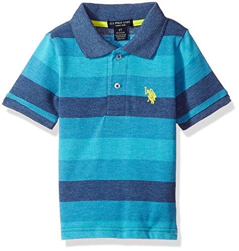 U.S. Polo Assn. Little Boys' Short Sleeve Striped Cotton-Poly Polo Shirt, Marina Blue, 5/6