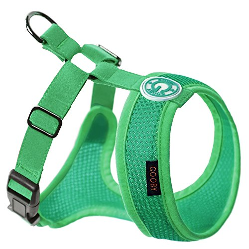 Gooby - Freedom Harness II, Choke Free Mesh Harness for Small Dogs with Microsuede Straps, Hunter Green, - Adjustable Harness Hunter Green