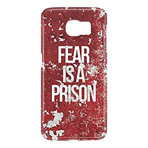 Loud Universe Samsung Galaxy S6 3D Wrap Around Fear is A Prison Print Cover - Red/White