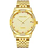 Prince Gera 18K Gold Plated Men's Watches Automatic Mechanical Crystal Luxury Wrist Watches for Men