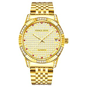 Prince Gera 18K Gold Plated Men's Watches Calendar Date Automatic Mechanical Analog Waterproof Wrist Watches