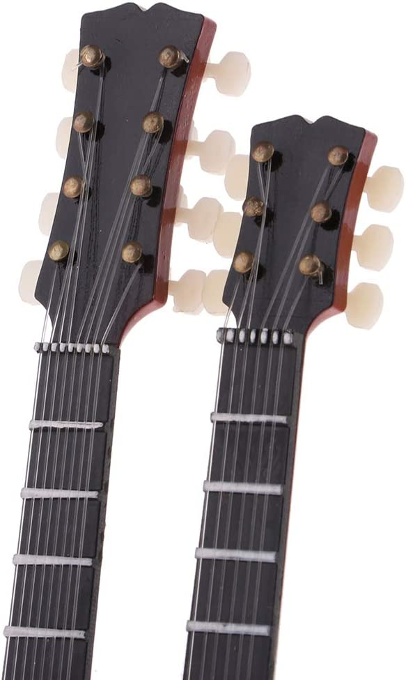 1//6 Miniature Guitar Double Neck Wooden Musical Instruments Model With Stand