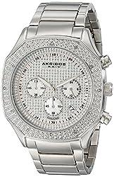 Akribos XXIV Men's AK778SS Chronograph Quartz Movement Watch with Silver Dial and Stainless Steel Bracelet