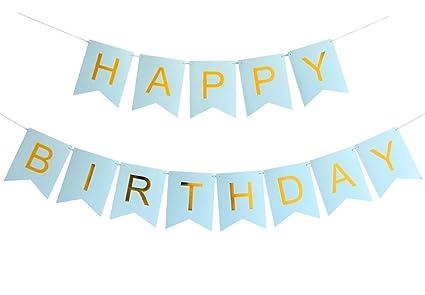 Amazon.com: grantparty pancarta de feliz cumpleaños azul y ...