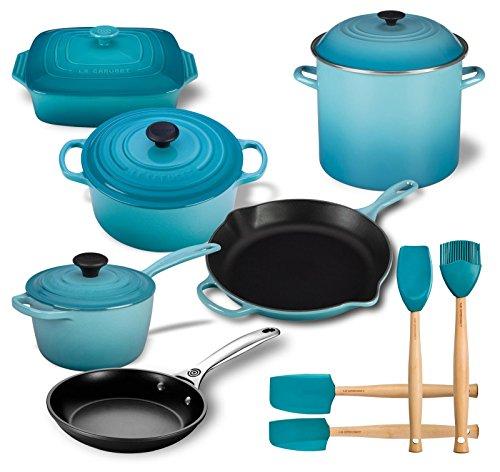 Le Creuset 14 Piece Kitchen Essentials Set (4.5 qt Dutch Oven, 1 3/4 qt Saucepan, 11 2/4