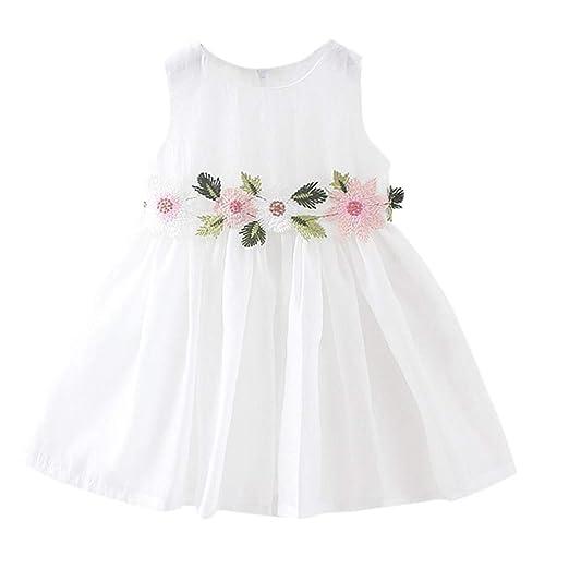 a32e8af7327b4 Amazon.com: Dsood Infant Dress, 2019 Big Children Baby Girls Flower Floral  Printing Princess Sleeveless Grenadine Dresss: Clothing