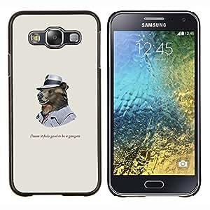 Funncy oso grizzly en Hat gangsters- Metal de aluminio y de plástico duro Caja del teléfono - Negro - Samsung Galaxy E5 / SM-E500
