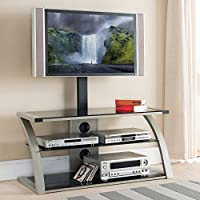 Home Source Industries TV11242 Modern TV Stand with Mount and Shelving for Components, Black/Chrome