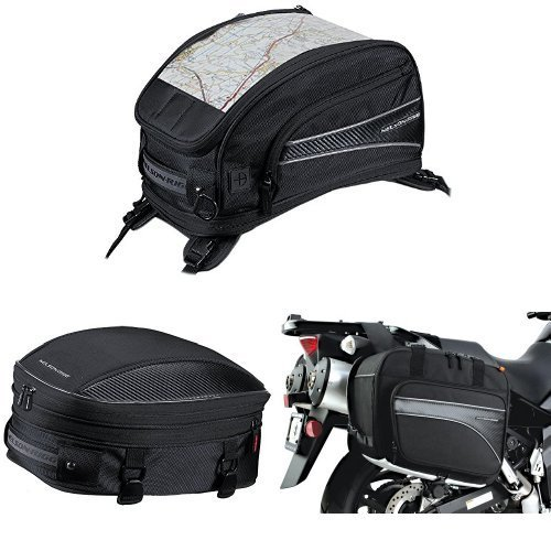 Nelson-Rigg CL-2015-ST Black Strap Mount Journey Sport Tank Bag, CL-1060-S Black Sport Tail/Seat Pack, and (CL-855) Black Touring Adventure Saddlebag Bundle