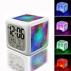 Alarm Clock 7 LED Color Changing Wake Up Bedroom with Data and Temperature Display (Changable Color) Customize the pattern-345.color abstract background hole plasma spiral