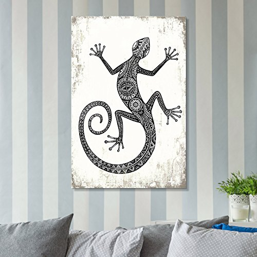 Sugar Tattoo Style Gecko in Black and White on Rustic Background Gallery