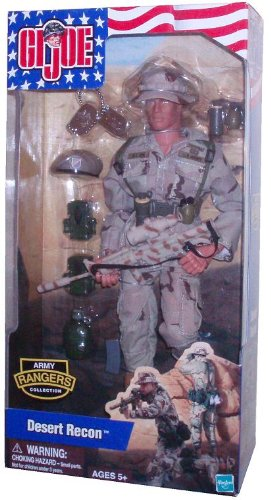 G.I. Joe Year 2002 Army Rangers Collection Series 12 Inch Tall Soldier Action Figure - Desert Recon with Army Uniform, Desert Combat Boots, Boonie Hat, Ranger Beret, Ammo Pouches, Canteen, Equipment Belt, Equipment Suspenders, M4A1 Carbine with Scope and Silencer, Fragmentation Grenades, Smoke Grenades and Dog Tags