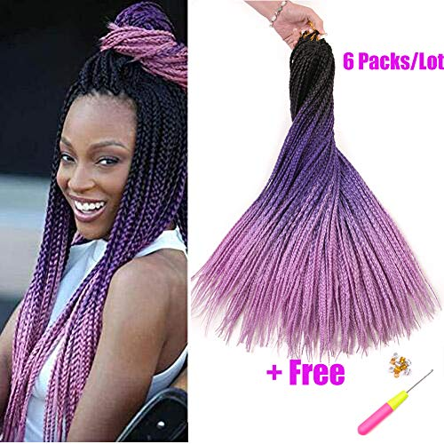 Geyashi Hair 24 Inch 6 Packs/Lot 100G/Pack 3 Tone Dark Roots Ombre 3S Box Braids Senegalese Twist Ombre Crochet Hair Extensions Soft Light Weight Synthetic Braiding Hair(1B/Dark Purple/Light Purple)