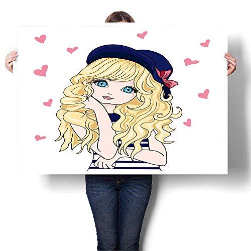 SCOCICI1588 Canvas Print Wall Art Girl Vector t Shirt Print