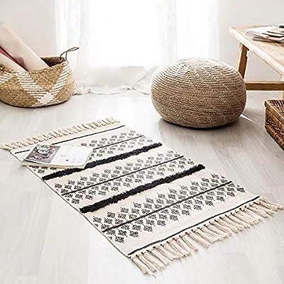YOUZHA Alfombra Blanca Negra Alfombra geométrica de Lino y algodón ...