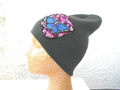 Grey Slouchy Beanie Hat with embellished and hand beaded butterfly - Hat Womens Chanel
