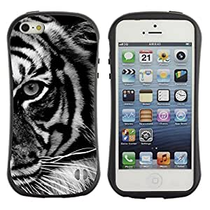 Pulsar iFace Series Tpu silicona Carcasa Funda Case para Apple iPhone 5 / iPhone 5S , Ojo Negro White Stripes África""
